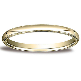 2mm Classic Light Comfort-Fit Dome Milgrain Wedding Band - 14K Yellow Gold