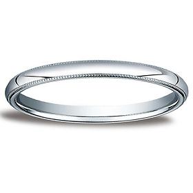 2mm Classic Light Comfort Fit Dome Milgrain Wedding Band Platinum