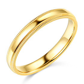 3mm Classic Light Comfort-Fit Dome Milgrain Wedding Band - 10K, 14K, 18K Yellow Gold