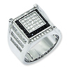 Elliot Skye Sterling Silver Black & White Micro Pave CZ Men's Ring