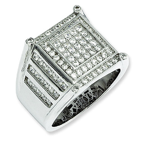 Elliot Skye Sterling Silver Micro Pave CZ Fancy Men's Ring