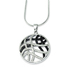 Elliot Skye Sterling Silver Round Wave Black & White CZ Charm Necklace