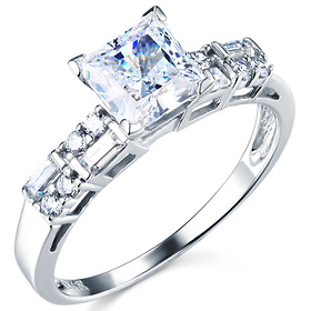 Modern 1-CT Princess-Cut & Baguette CZ Engagement Ring in 14K White Gold