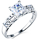 Modern 1-CT Princess-Cut & Baguette CZ Engagement Ring in 14K White Gold thumb 0
