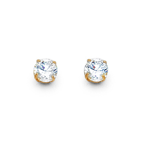 5a1a21829 4mm 14K Yellow Gold Round-Cut Cubic Zirconia CZ Stud Earrings - Push Backs