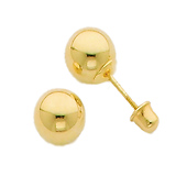6mm 14K Yellow Gold Ball Stud Earrings
