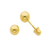 4mm 14K Yellow Gold Ball Stud Earrings