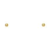 3mm High Polish 14K Yellow Gold Ball Stud Earrings