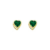 5mm Heart 14K Yellow Gold Emerald CZ May Birthstone Stud Earrings