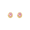 14K Yellow Gold Round Pink Tourmaline CZ October Birthstone Stud Earrings