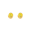 14K Yellow Gold Round Citrine CZ November Birthstone Stud Earrings