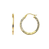 Diamond-Cut Flat Small Hoop Earrings - 14K Yellow Gold 0.8 inch