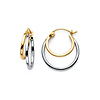 Polished Petite Double Hoop Earrings - 14K Two-Tone Gold