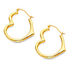 Heart-Shape Medium Hoop Earrings - 14K Yellow Gold