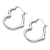 Heart-Shape Medium Hoop Earrings - 14K White Gold