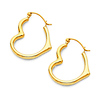 Heart-Shape Small Hoop Earrings - 14K Yellow Gold