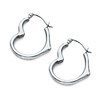 Heart-Shape Small Hoop Earrings - 14K White Gold