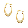 Diamond-Cut Smooth Medium Oval Hoop Earrings -  14K Yellow Gold