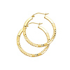 Diamond-Cut Flat Satin Medium Hoop Earrings - 14K Yellow Gold 1 inch