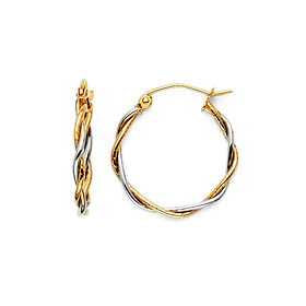 b5c3961c18b9d Twisted Small Hoop Earrings - 14K Two-Tone Gold 1.5mm x 0.67 inch