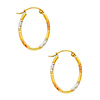 Crisscross Diamond-Cut Small Oval Hoop Earrings - 14K Tricolor Gold
