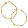 Twisted Tube Hoop Earrings - 14K Two- Tone Gold 1.5mm x 1 inch