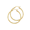 14K Yellow Gold Diamond-Cut Hinge Medium Hoop Earrings - 2mm x 1.3 inch