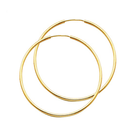 Polished Endless Large Hoop Earrings - 14K Yellow Gold 1.5mm x 2 inch