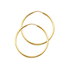 14K Yellow Gold Polished Endless Medium Hoop Earrings - 1.5mm x 1.2in