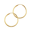 Polished Endless Medium Hoop Earrings - 14K Yellow Gold 1.5mm x 1 inch