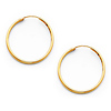 14K Yellow Gold Polished Endless Small Hoop Earrings - 1.5mm x 0.8 inch