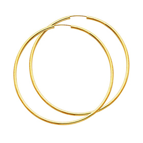 14k Yellow Gold Polished Endless Extra Large Hoop Earrings 2mm X 2 6 Inch