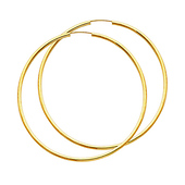 14K Yellow Gold Polished Endless Extra Large Hoop Earrings - 2mm x 2.6 inch