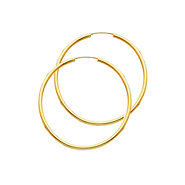 14k Yellow Gold Polished Endless Medium Hoop Earrings 2mm X 1 37 Inch