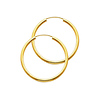 Polished Endless Medium Hoop Earrings - 14K Yellow Gold 2mm x 1.2 inch