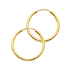 Polished Endless Medium Hoop Earrings - 14K Yellow Gold 2mm x 1 inch
