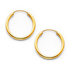 Polished Endless Small Hoop Earrings - 14K Yellow Gold 2mm x 0.8 inch