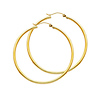 Polished Hinged Large Hoop Earrings - 14K Yellow Gold 2mm x 1.8 inch