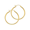 Polished Round Medium Hoop Earrings - 14K Yellow Gold 2mm x 1.2 inch