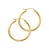 Polished Hinge Medium Hoop Earrings - 14K Yellow Gold 2mm x 1 inch
