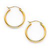 Polished Hinge Small Hoop Earrings - 14K Yellow Gold 2mm x 0.67 inch