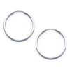 14K White Gold Polished Endless Small Hoop Earrings - 1.5mm x 0.8 inch
