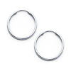 Polished Endless Small Hoop Earrings - 14K White Gold 1.5mm x 0.67 inch