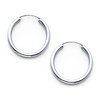 Polished Endless Small Hoop Earrings - 14K White Gold 2mm x 0.7 inch