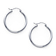 Polished Hinge Small Hoop Earrings - 14K White Gold 2mm x 0.8 inch thumb 0