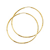 Diamond-Cut Satin Endless Large Hoop Earrings - 14K Yellow Gold 1.5mm x 2.16 inch