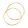 Diamond-Cut Satin Endless Large Hoop Earrings - 14K Yellow Gold 1.5mm x 1.85 inch