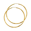 Diamond-Cut Satin Endless Extra Large Hoop Earrings - 14K Yellow Gold 2mm x 2.4 inch