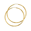 Diamond-Cut Satin Endless Large Hoop Earrings - 14K Yellow Gold 2mm x 2 inch