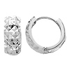 Tiny Faceted 14K White Gold Huggie Earrings 5mm x 7mm